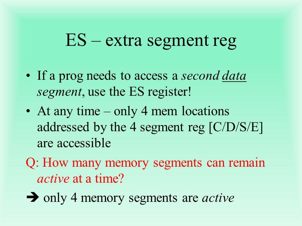 ES – extra segment reg If a prog needs to access a second data segment, use the ES register!
