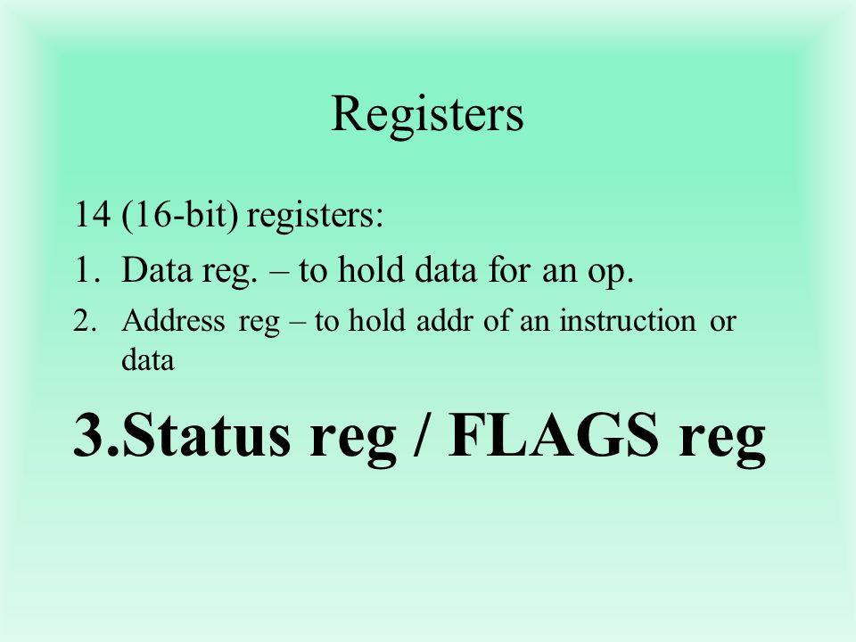 Status reg / FLAGS reg Registers (16-bit) registers: