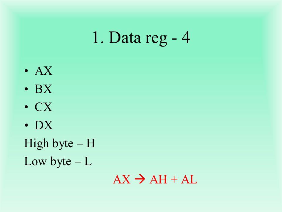 1. Data reg - 4 AX BX CX DX High byte – H Low byte – L AX  AH + AL