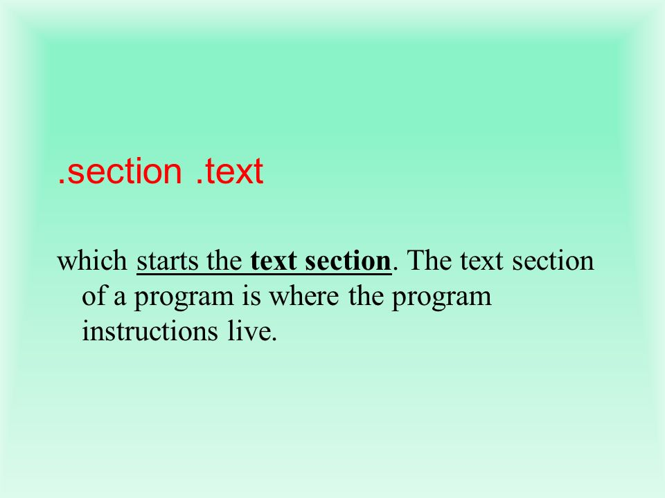 .section .text which starts the text section.