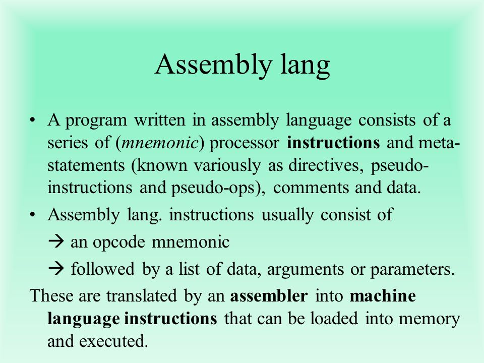 Assembly lang