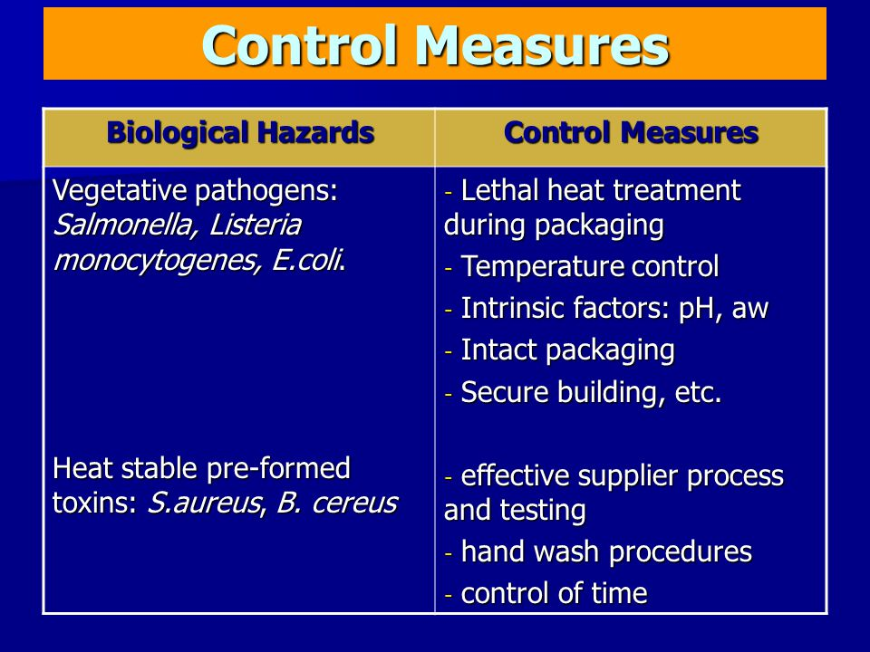 Control Measures Biological Hazards Control Measures