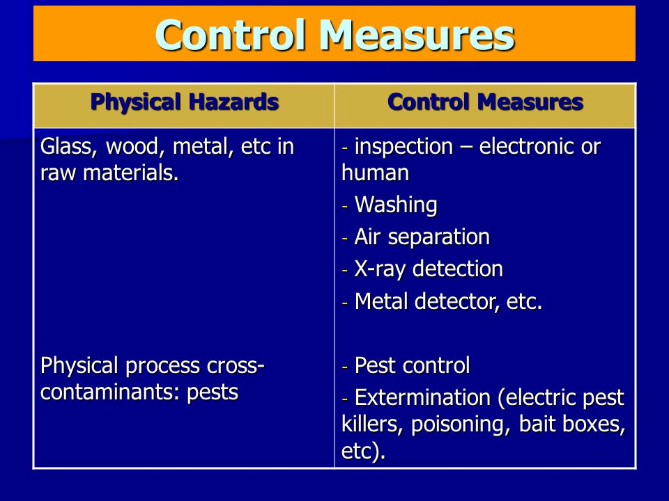 Control Measures Physical Hazards Control Measures