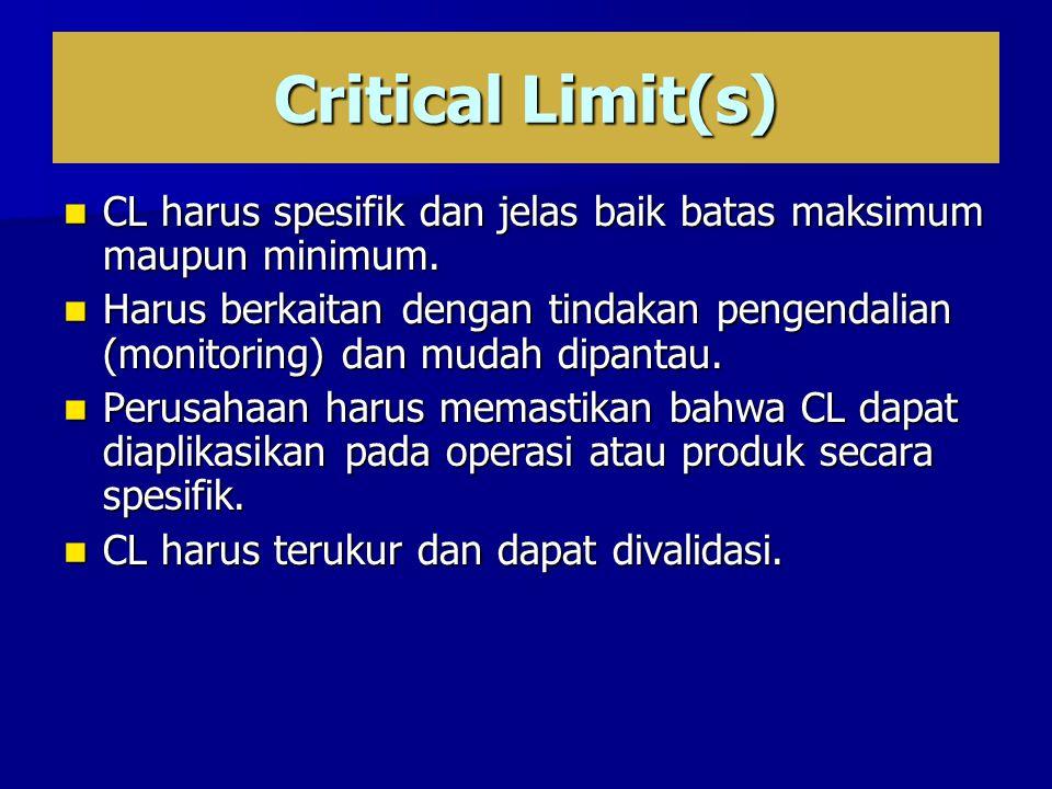 Critical Limit(s) CL harus spesifik dan jelas baik batas maksimum maupun minimum.