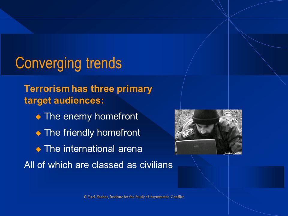 Converging trends Terrorism has three primary target audiences: