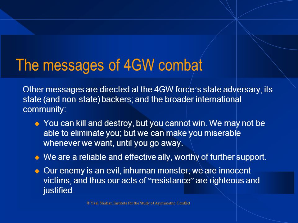 The messages of 4GW combat