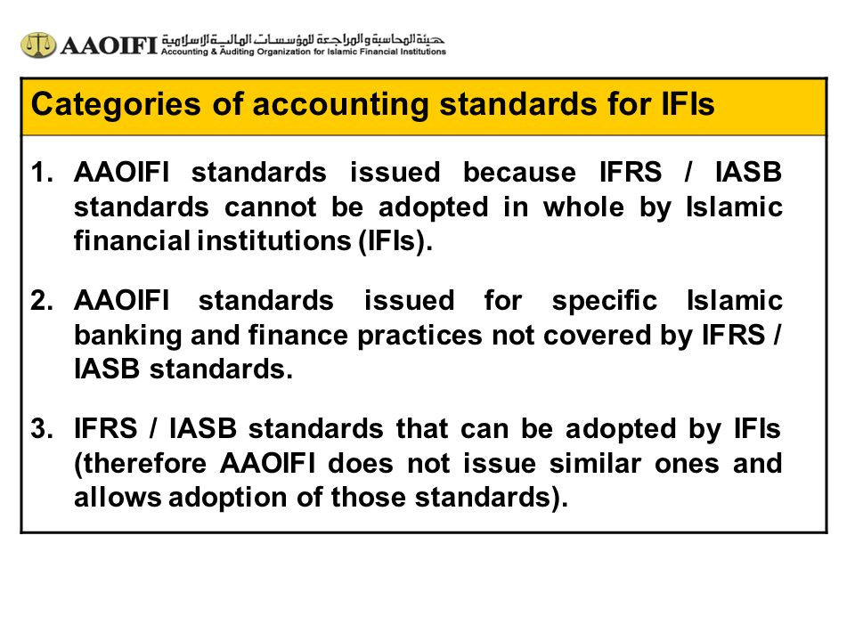 Categories of accounting standards for IFIs