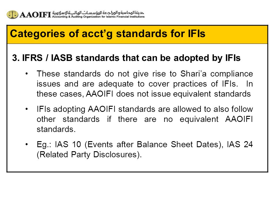 Categories of acct'g standards for IFIs