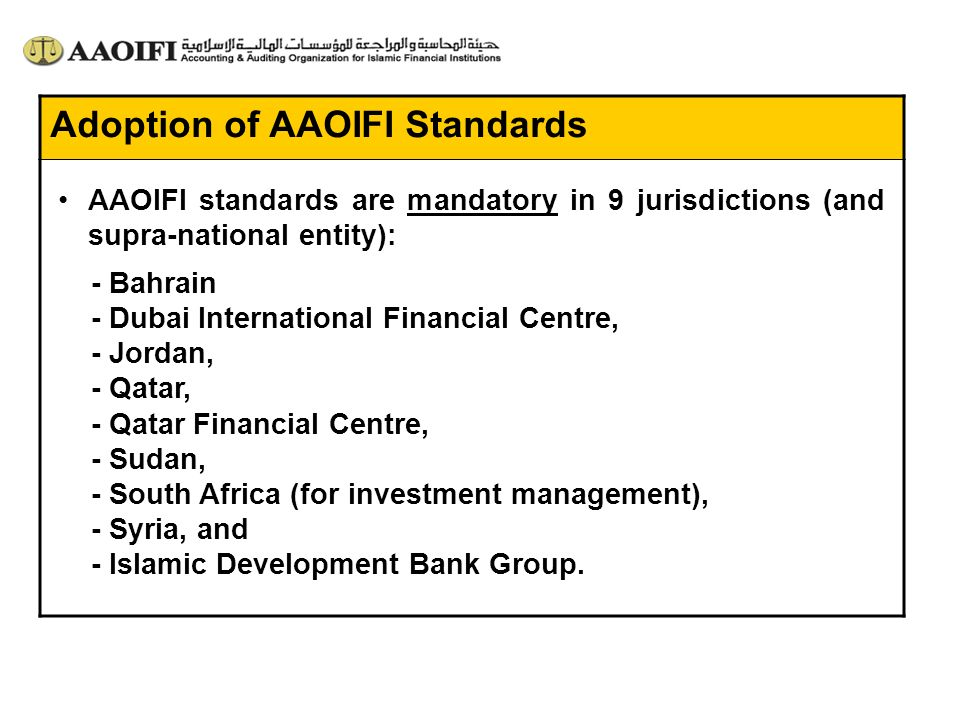 Adoption of AAOIFI Standards