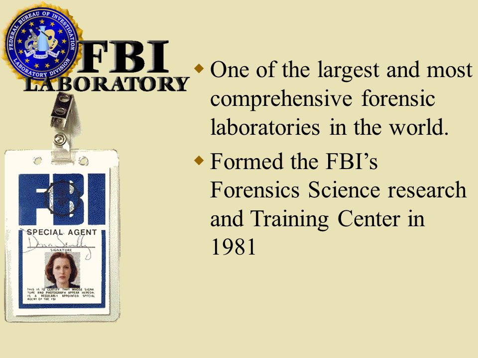 FBI lab One of the largest and most comprehensive forensic laboratories in the world.