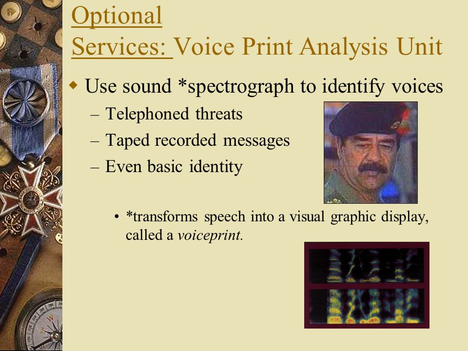 Optional Services: Voice Print Analysis Unit