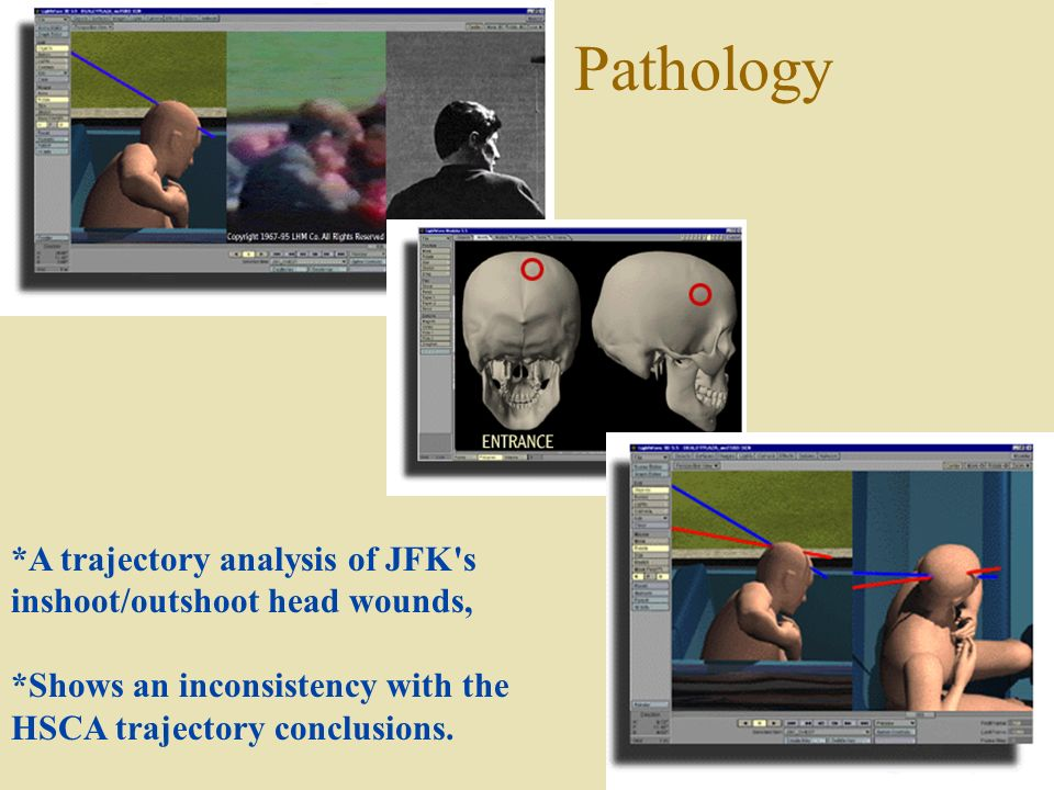 Forensic Pathology *A trajectory analysis of JFK s inshoot/outshoot head wounds, *Shows an inconsistency with the HSCA trajectory conclusions.