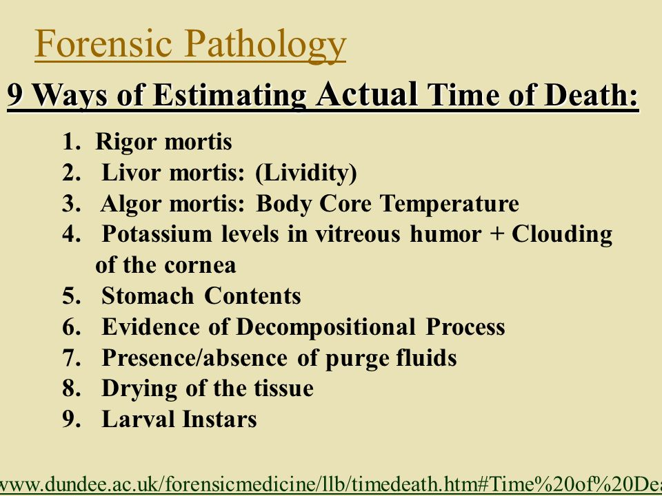 Forensic Pathology 9 Ways of Estimating Actual Time of Death: