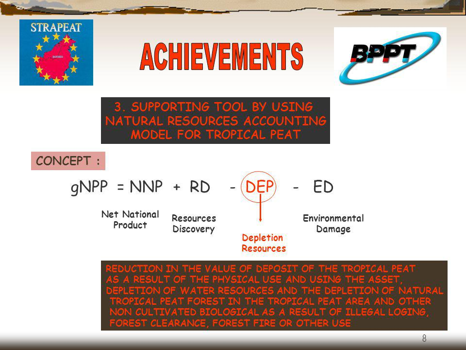 ACHIEVEMENTS gNPP = NNP + RD - DEP - ED 3. SUPPORTING TOOL BY USING