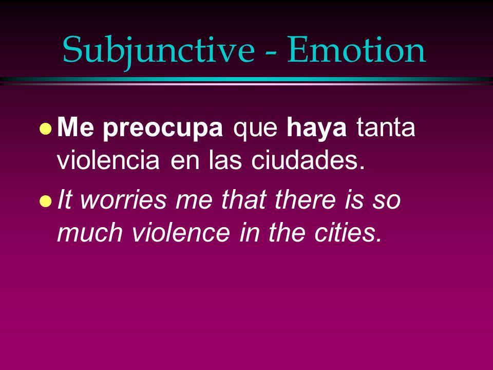 Subjunctive - Emotion Me preocupa que haya tanta violencia en las ciudades.
