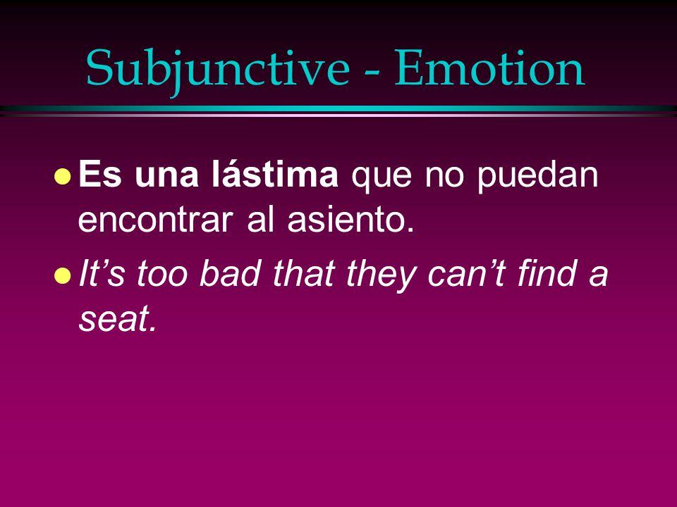 Subjunctive - Emotion Es una lástima que no puedan encontrar al asiento.