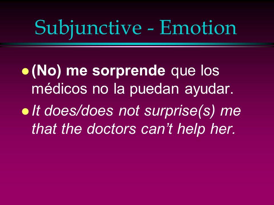 Subjunctive - Emotion (No) me sorprende que los médicos no la puedan ayudar.