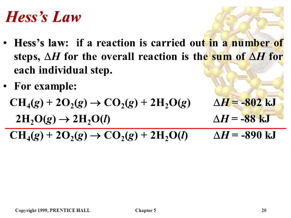 Hess's Law Hess's law: if a reaction is carried out in a number of steps, H for the overall reaction is the sum of H for each individual step.
