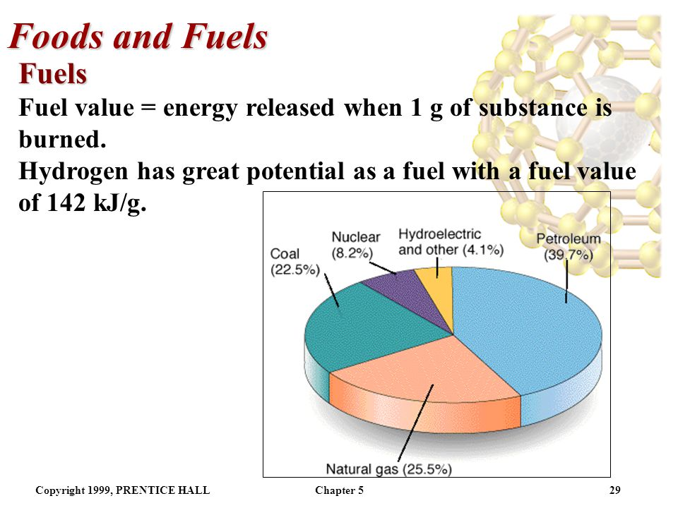 Foods and Fuels Fuels. Fuel value = energy released when 1 g of substance is burned.