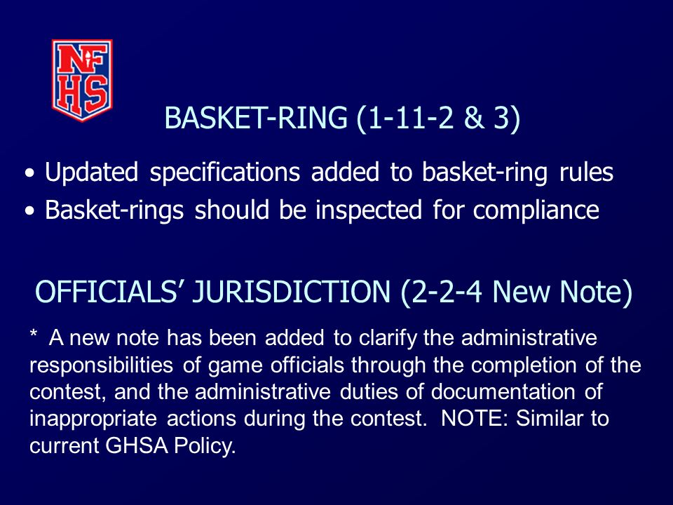 OFFICIALS' JURISDICTION (2-2-4 New Note)