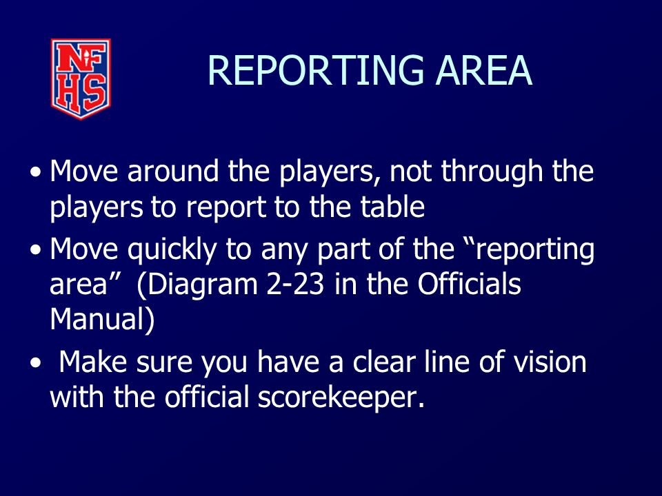 REPORTING AREA Move around the players, not through the players to report to the table.