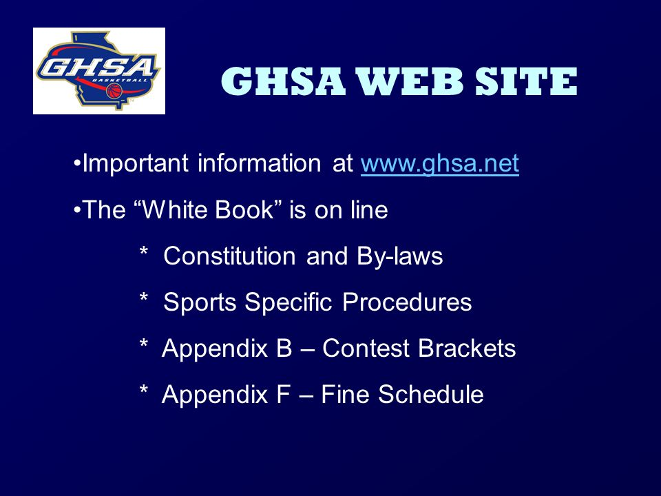 GHSA WEB SITE Important information at