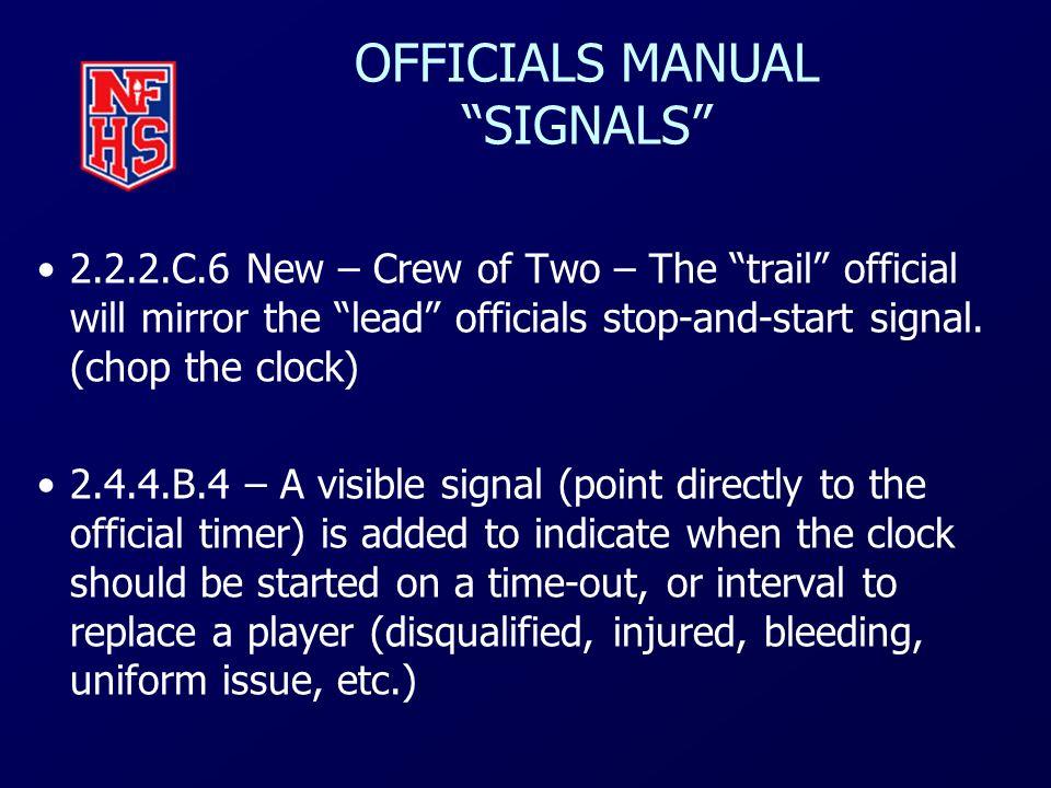 OFFICIALS MANUAL SIGNALS