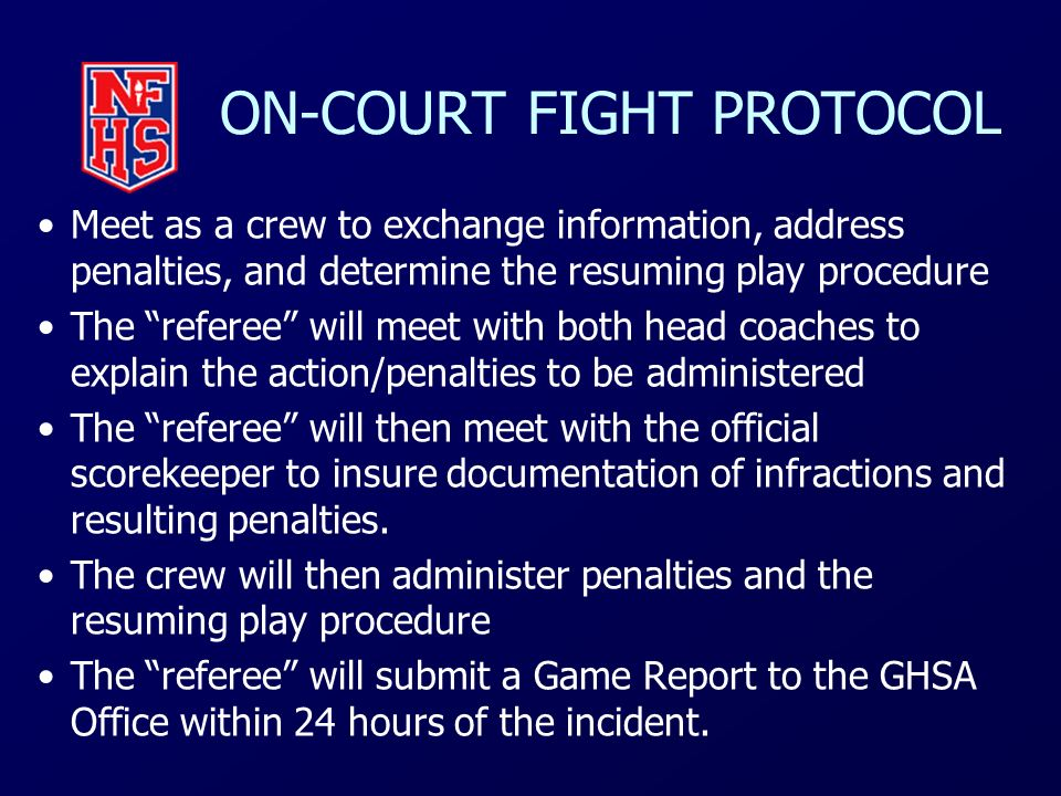 ON-COURT FIGHT PROTOCOL
