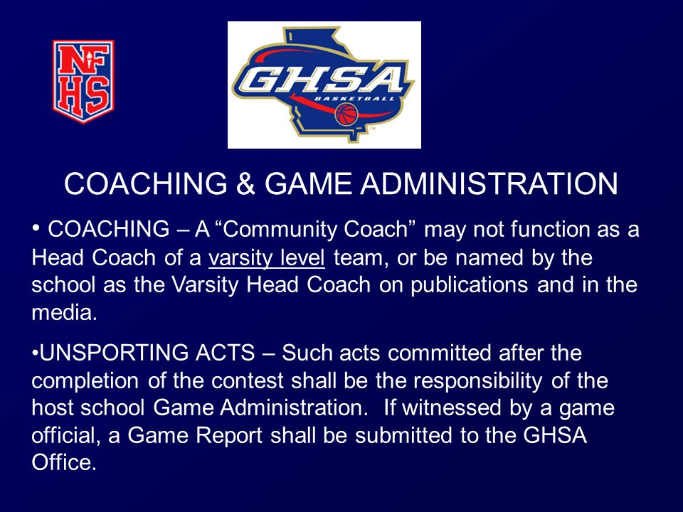 COACHING & GAME ADMINISTRATION
