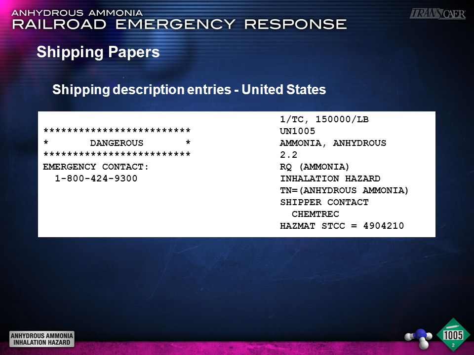 Shipping Papers Shipping description entries - United States