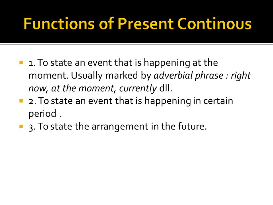 Functions of Present Continous