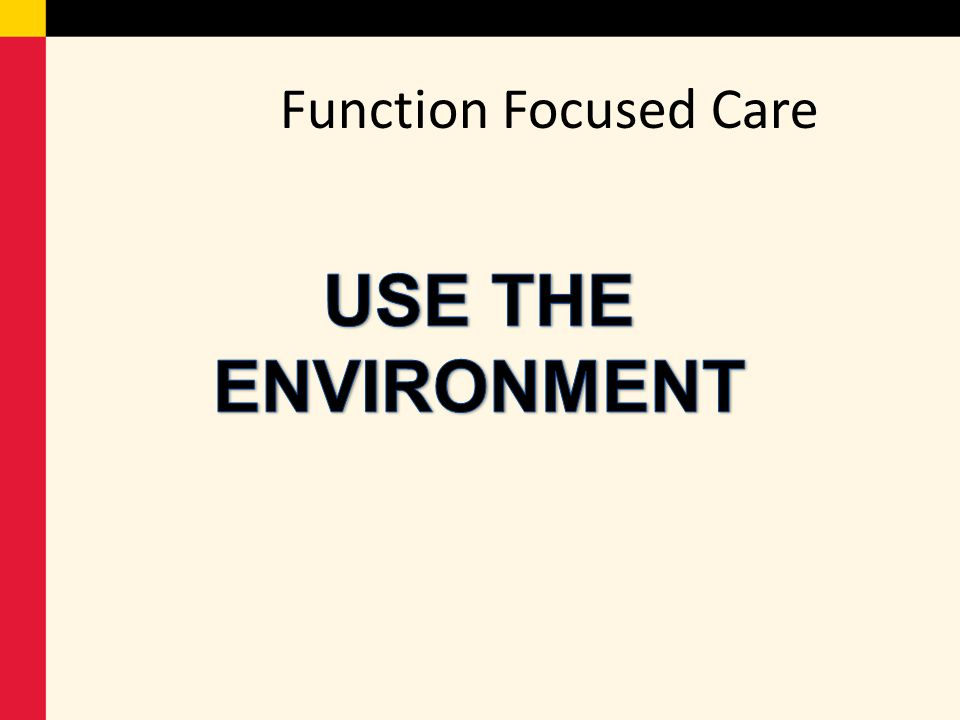 Function Focused Care USE THE ENVIRONMENT