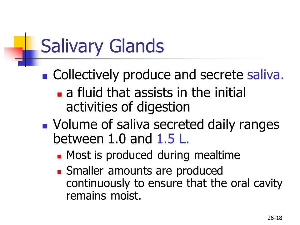 Salivary Glands Collectively produce and secrete saliva.