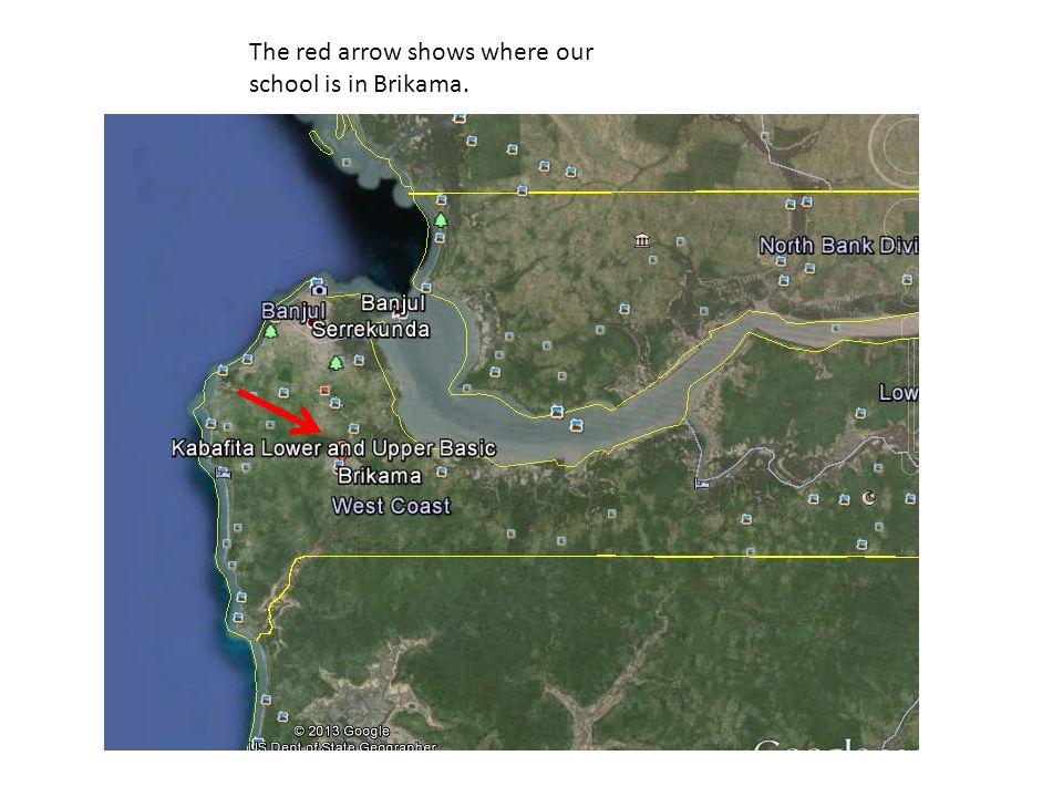 The red arrow shows where our school is in Brikama.