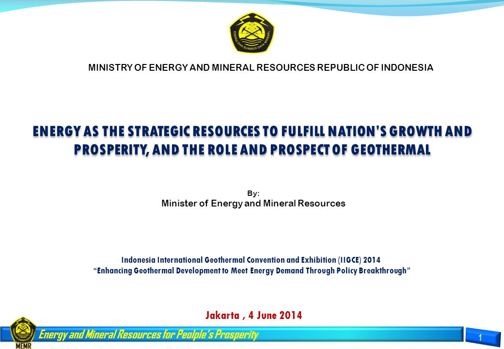 MINISTRY OF ENERGY AND MINERAL RESOURCES REPUBLIC OF INDONESIA