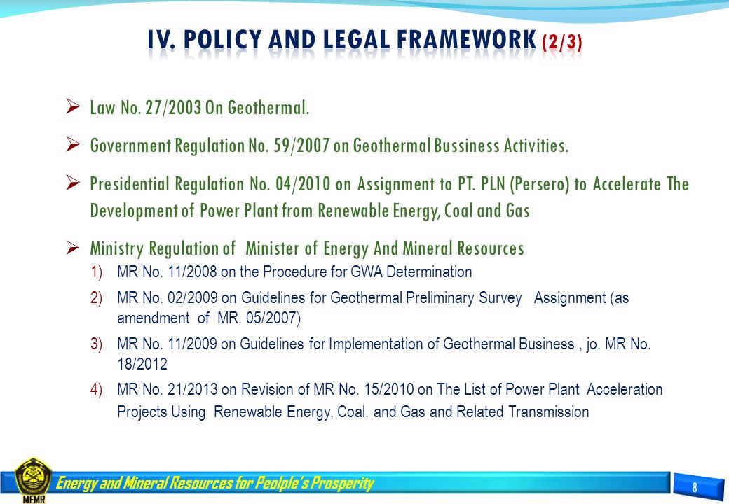 IV. Policy and LEGAL FRAMEWORK (2/3)