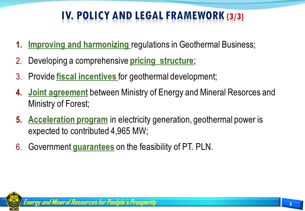IV. Policy and LEGAL FRAMEWORK (3/3)