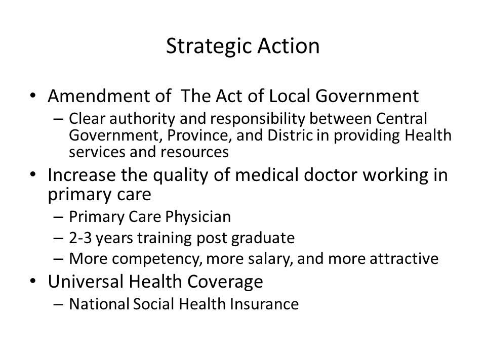 Strategic Action Amendment of The Act of Local Government
