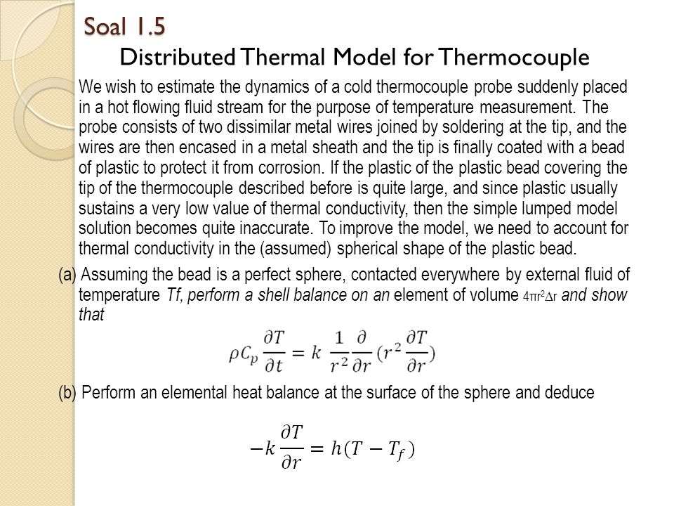 Soal 1.5 Distributed Thermal Model for Thermocouple