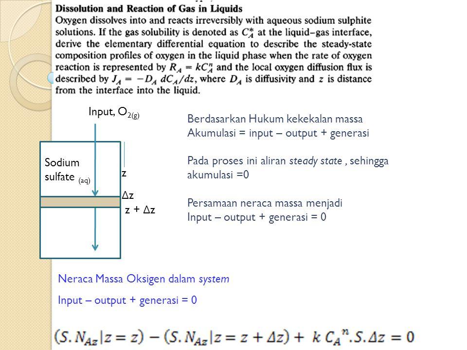 Input, O2(g) Berdasarkan Hukum kekekalan massa. Akumulasi = input – output + generasi. Pada proses ini aliran steady state , sehingga.