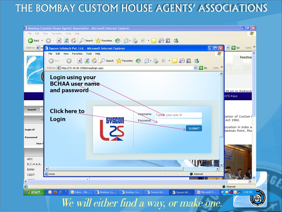 Login using your BCHAA user name and password