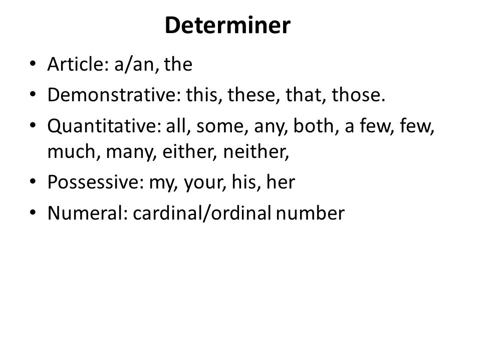 Determiner Article: a/an, the Demonstrative: this, these, that, those.