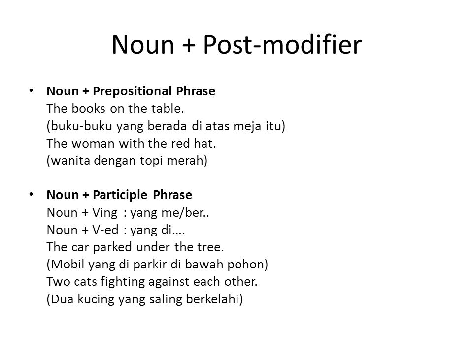 Noun + Post-modifier Noun + Prepositional Phrase