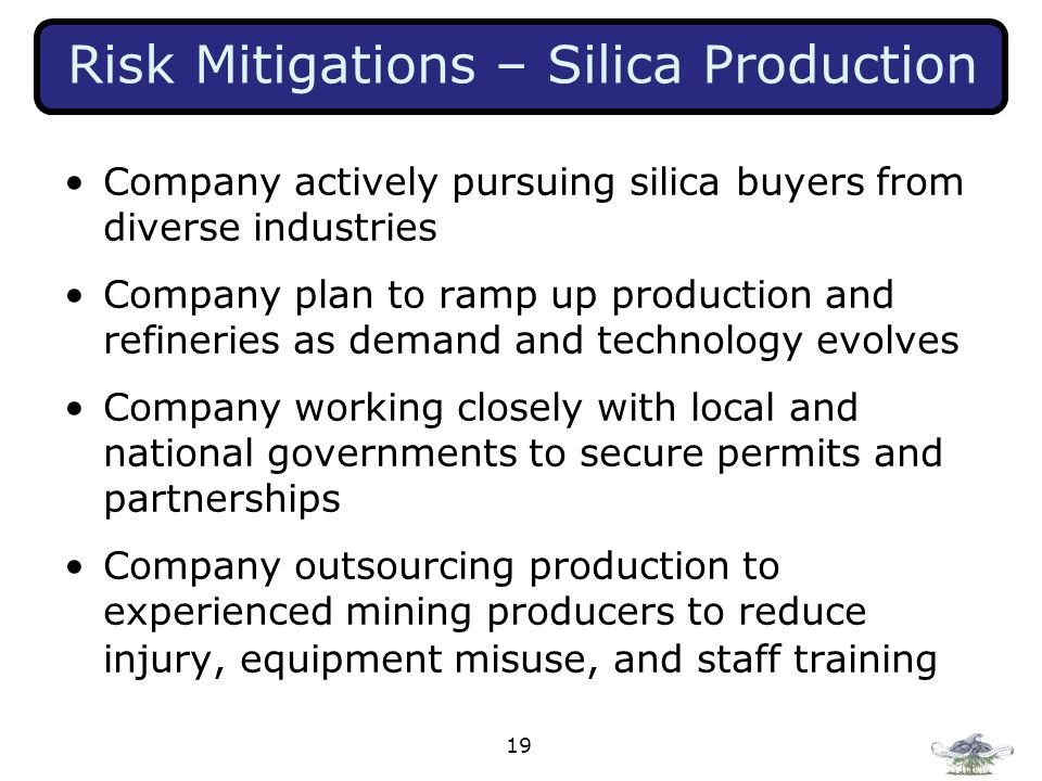 Risk Mitigations – Silica Production