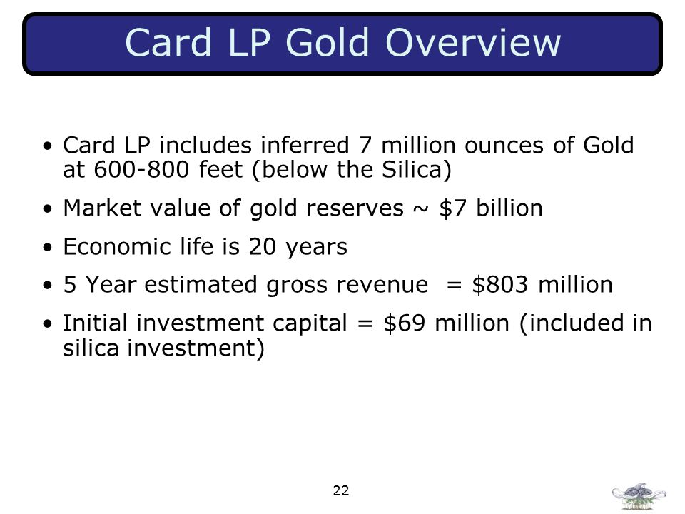 Card LP Gold Overview Card LP includes inferred 7 million ounces of Gold at feet (below the Silica)