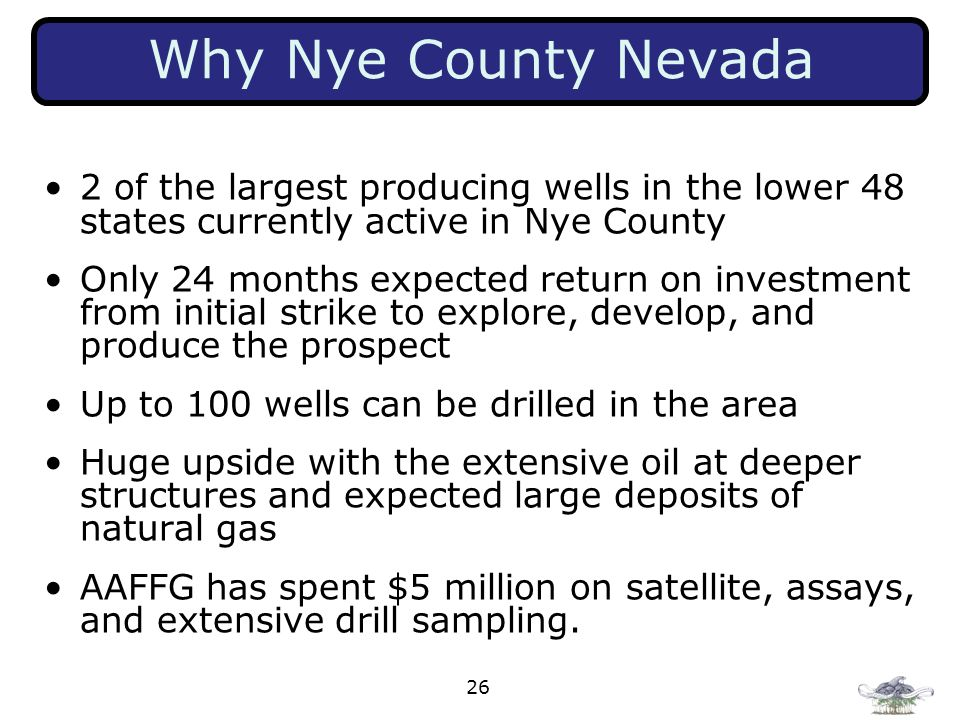 Why Nye County Nevada 2 of the largest producing wells in the lower 48 states currently active in Nye County.