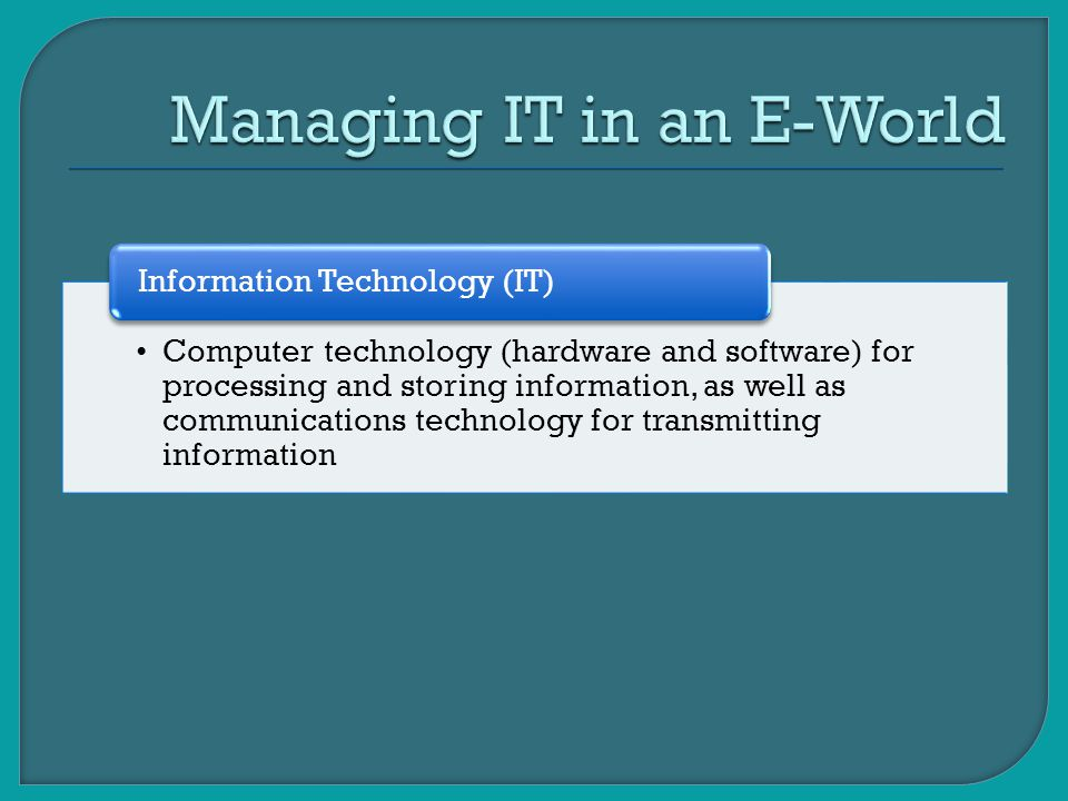 Managing IT in an E-World