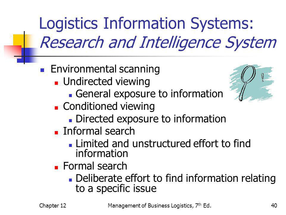 Logistics Information Systems: Research and Intelligence System