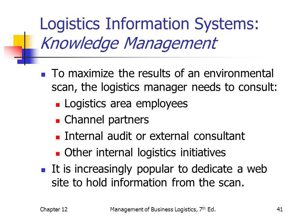 Logistics Information Systems: Knowledge Management
