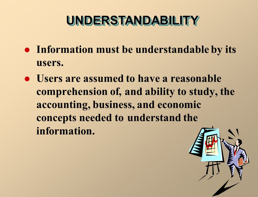 UNDERSTANDABILITY Information must be understandable by its users.